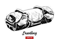 Croquis tiré par la main du sac de sable dans le noir d'isolement sur le fond blanc Dessin détaillé de style gravure à l'eau-fort illustration stock