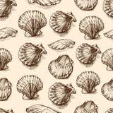 Croquis tiré par la main gravure à l'eau-forte de graphique de vecteur de coquillages, modèle sans couture, ornement marin artist Photographie stock