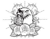 croquis traditionnel de tatouage de vintage d'aigle chauve néo- illustration stock