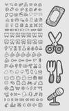 Croquis utile d'icônes Photographie stock libre de droits