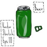 Croquis vert de griffonnage de canette de bière et de clé Illustration de vecteur de barre Photographie stock