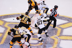 Crosby and Krejci face-off (NHL Hockey) Stock Photography