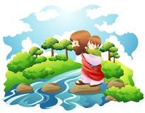 Crose een rivier Stock Foto