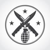 Crosed knives and grenade symbol stock illustration