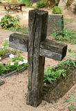 CROSS. Wooden cross and grave Royalty Free Stock Photo