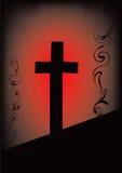 Cross. Red cross on a black-red bg vector illustration