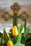 Cross. Easter cross with spring flowers Royalty Free Stock Photography