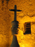 Cross. Rising Cross with yellow backlighting Royalty Free Stock Photos