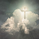 Cross. Hangs in sky with bright light stock illustration