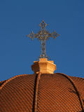 Cross. On the roof of the church. Greece Stock Photography