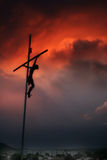 Cross Silhouette and Amazing Red Sky stock photo