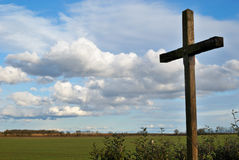 Cross. A cross in the country under a low sky Royalty Free Stock Photography