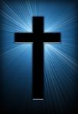Cross. Burst of bright light behind a cross Royalty Free Stock Photo