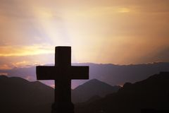 Cross. A cross and sunset, montenegro stock images