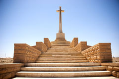 Cross. A commonwealth cemetery memorial outside of Tobruk, Libya from The World War II Royalty Free Stock Image