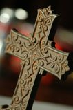 Cross. Decorative rusty, close up detail of christian cross Royalty Free Stock Photos
