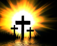 Cross. In water, darj background Stock Photos
