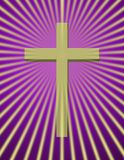Cross. With beams on purple Royalty Free Stock Image