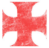 Cross. Knight templar`s red cross. Stained effect on white background Royalty Free Stock Photography
