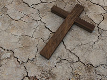 Cross. Holy Cross on dried ground Stock Photo