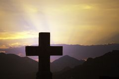 Cross. A cross and sunset, montenegro stock image