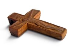 Cross. Wooden crooss.Orthodox religion.Isolated on white Royalty Free Stock Photo