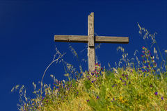 Cross. Summit cross in spring in the alpes Stock Images