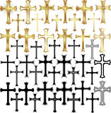 Cross. Set of  illustration -  gold and black crosses Stock Image