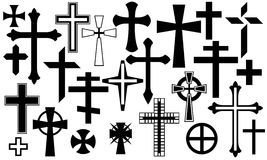 Cross. Black cross set isolated on white Royalty Free Stock Photos