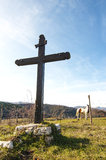 The Cross. A religious symbol in the hills Stock Images