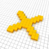 Cross 3d icon in grid Stock Photos