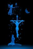 Cross. Jesus on the cross on beautiful blue with angel royalty free stock images