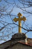 Cross. A christian cross against the sky Stock Photography