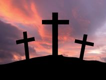 Cross. A silhouette of crosses on a hill royalty free illustration