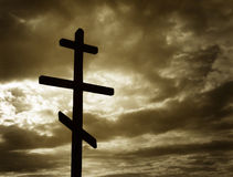 Cross. Silhouette against dramatic Sky Royalty Free Stock Photo