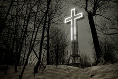 Cross. Cros of Mont-royal stock photo