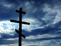 Cross. Silhouette against dramatic Sky Stock Image