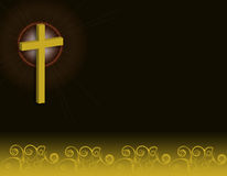 Cross. With glow and swirl pattern over black background Royalty Free Stock Photo