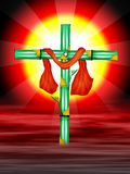 Cross. The cross symbol with bamboo trees and red colour cloth on red sky and sun flair bright designed by illustration royalty free illustration