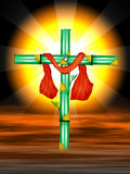 Cross. The cross symbol with bamboo trees and red colour cloth on sky and yellow colour sun flair bright, designed by illustration stock illustration