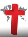 Cross. Christian cross on the world Stock Photo