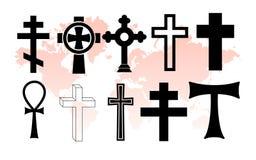 Cross. Various christian crosses on world map Royalty Free Stock Image