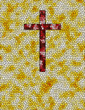 Cross. Yellow stained glass red cross illustration Royalty Free Stock Images