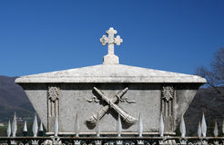 Cross. Old stone grave with cross Royalty Free Stock Photography