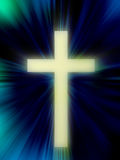 Cross. Illustration of a cross on dark background with blue streaks of light Stock Photo