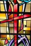 Cross. Religious stain glass Royalty Free Stock Image
