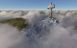 Cross  above the clouds. Made in 3d software Royalty Free Stock Image