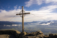 Cross above Innsbruck. Cross on the Hafelekarspitze, Innsbruck royalty free stock images