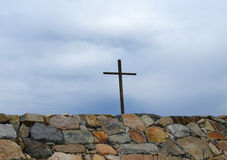 Cross Above Rock Wall in Scituate Stock Photos