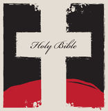 Cross on abstract background with words Holy Bible. Sign of the white cross on an abstract black background with a red mountain in the background and inscription Royalty Free Stock Photos